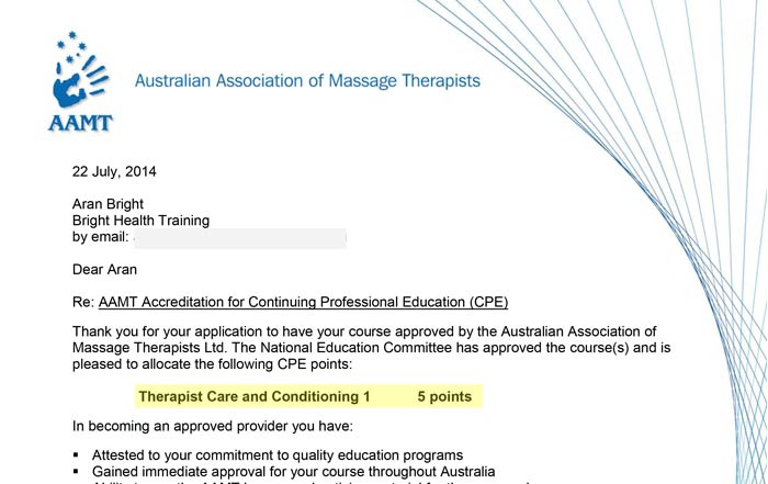 Approval letter from AAMT